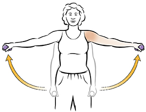 Woman doing side raise shoulder exercise with hand weights.