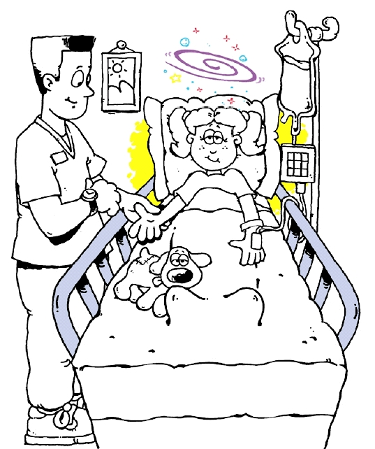 Girl in hospital bed with stuffed animal. Healthcare provider checking her pulse.